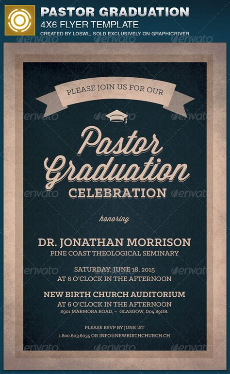 Pastor Graduation Celebration Church Flyer By Loswl Graphicriver Flyer Celebration Template