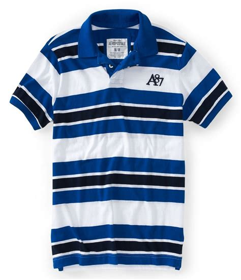 Aeropostale A87 Heritage Bar Stripe Jersey Polo Shirt Original 1 aeropostale mens a87 stripe rugby polo shirt mens apparel free shipping on all domestic orders