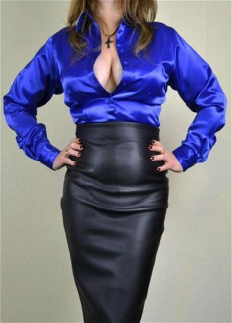 high waist black leather pencil skirt and blue satin
