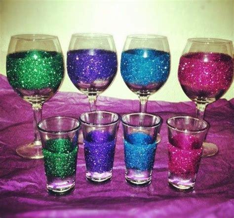 diy glitter glasses any glasses not just wine or shot