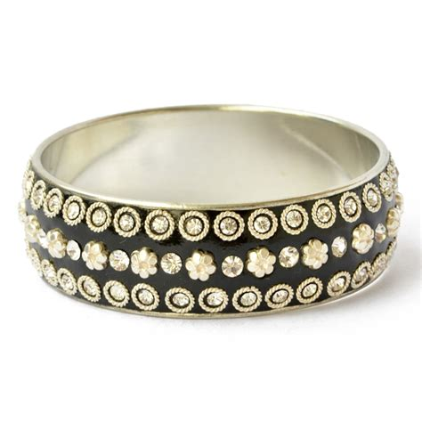 Handmade Metal Rings - handmade black bangle studded with metal rings flowers