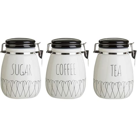 black and white kitchen canisters new heartlines tea coffee sugar canisters kitchen storage