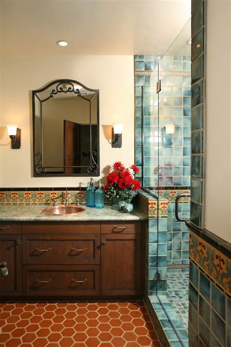 spanish tile bathroom ideas tiled shower designs bathroom mediterranean with beige