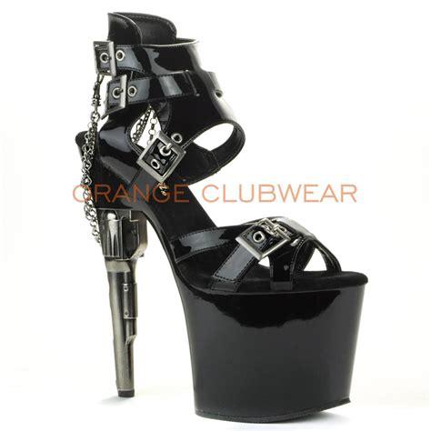 gun high heels pleaser black buckle ankle gun shaped heels platform