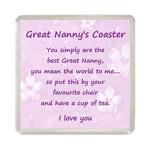 great nanny drink coaster fun poem novelty birthday