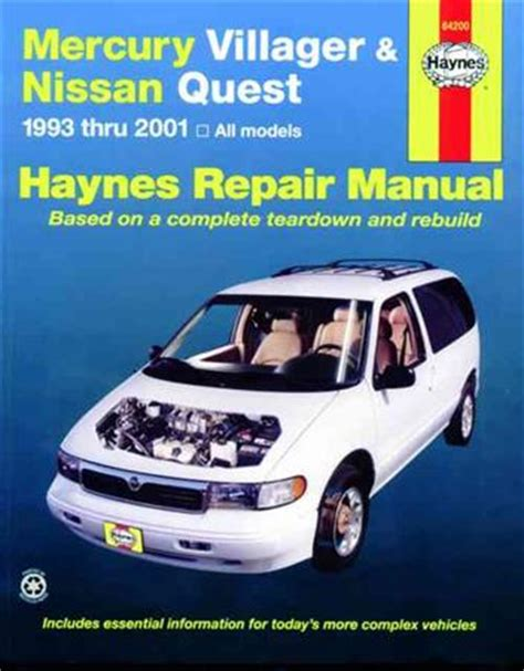 service and repair manuals 1999 mercury villager electronic toll collection mercury villager nissan quest 1993 2001 haynes owners service repair manual 156392448x