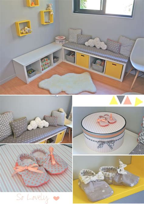 nursery baby room in yellow grey coral chambre