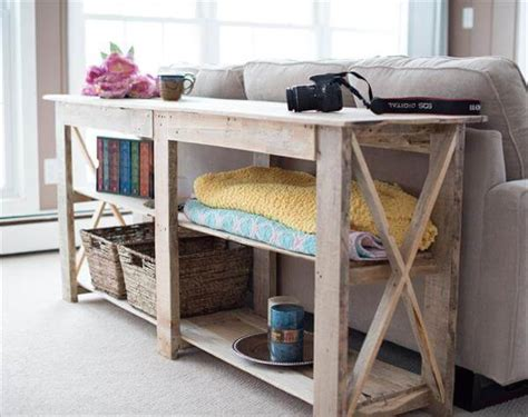 Diy Shabby Chic Pallet Buffet And Sofa Table 101 Pallets Pallet Sofa Table