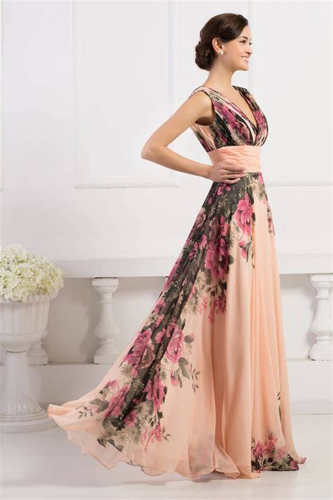 Gk Deep V neck Flower Pattern Chiffon Long Floral Evening