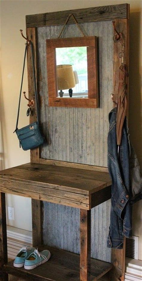 front entry coat tree    rustic planking rustic