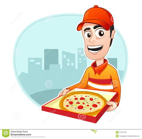 pizza delivery occupation pizza delivery stock vector image 24797120