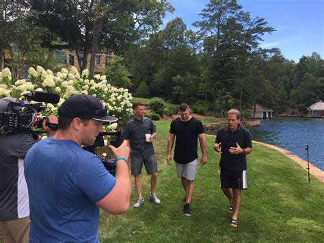 nick saban house saban welcomes espn s smith tebow to lake home for