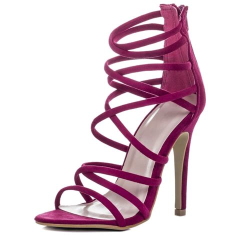 pink strappy high heel sandals ha heel
