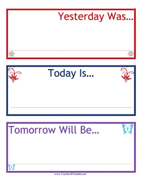 Today Is Calendar Template yesterday today tomorrow calendar