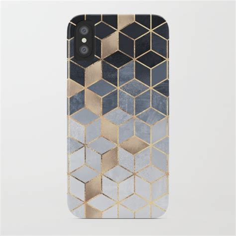 design phone cover uk soft blue gradient cubes iphone case by