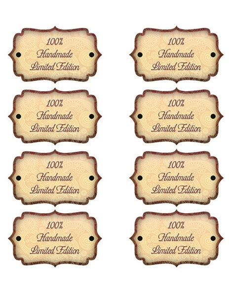 printable craft tags free printable handmade tags limited edition