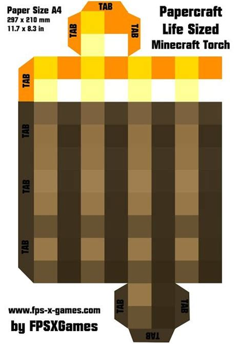 template for minecraft torch bookmarks boys pinterest