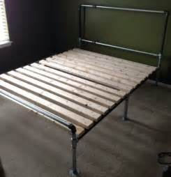 how to build a diy bed frame out of metal pipe removeandreplace com