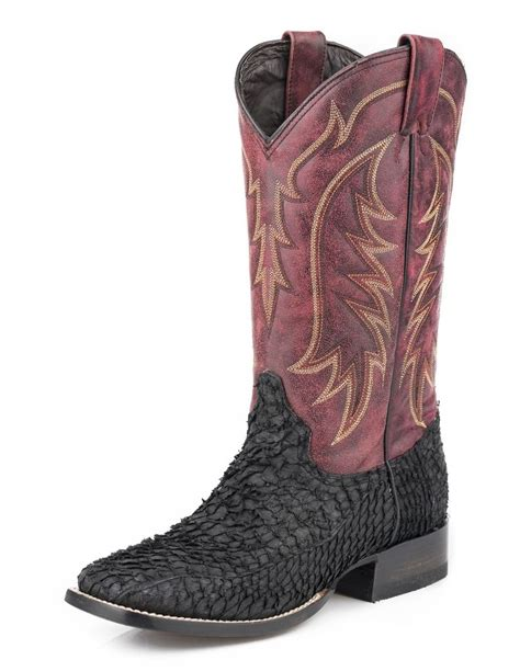 fish boots stetson western boots mens fish scales black 12 020 8838