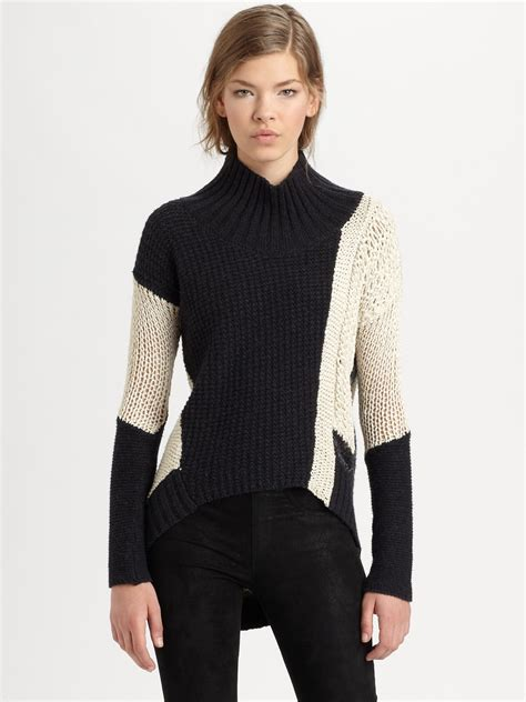 Sweater White Colour lyst helmut lang helmut colorblock sweater in black