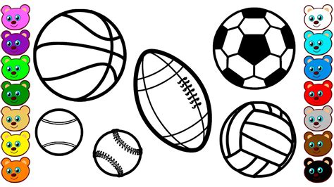 learn colors for kids with sport balls coloring pages