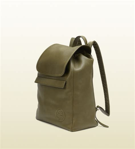 gucci green leather backpack in green for lyst