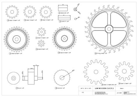 wood working plan complete wooden clock plans dxf