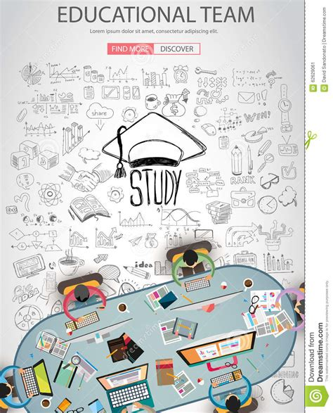 doodle learning educational and learning concept with doodle design style