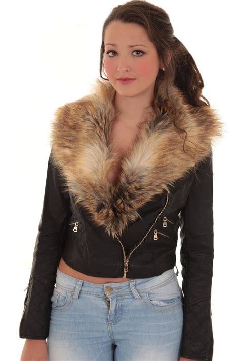 biker jacket women ladies detachable faux fur collar women s crop synthetic