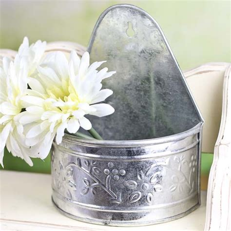 galvanized wall planter galvanized embossed half wall planter baskets buckets boxes home decor