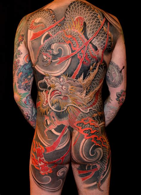 backpiece dragons japanese tattoo slave to the needle