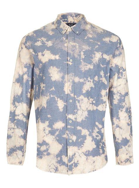 topman usa blue bleach tie dye chambray long sleeve shirt mens