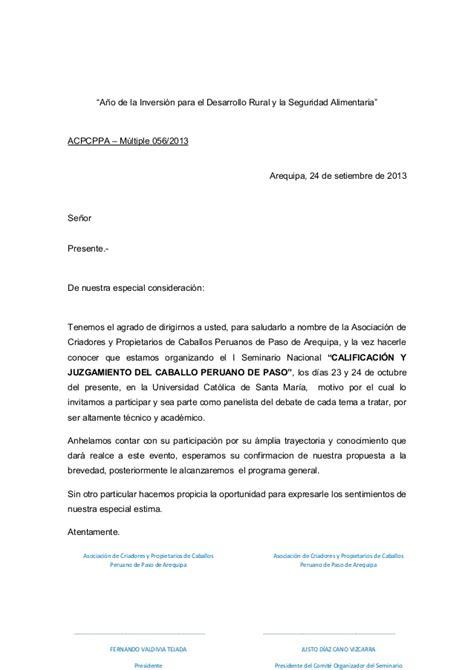 modelo carta de invitacion a conferencia carta invitacion panelista seminario