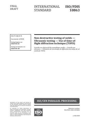 ISO 10863:2020 - Non-destructive testing of welds