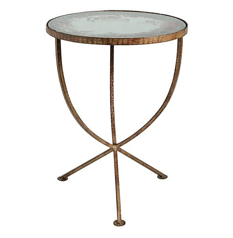side table sojourn contemporary antique mirror round accent side