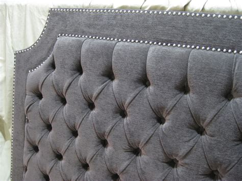 Upholstered Headboard Grey by Gray Tufted Upholstered Headboard With Nickel Nailheads