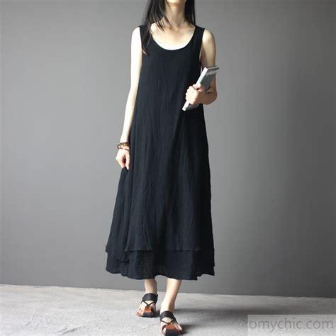 Linen Cotton Sleeveless Dress black linen maxi dress sleeveless summer dresses