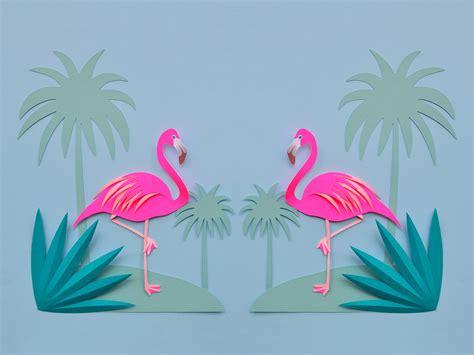 flamingos  palm trees love chloe fleury