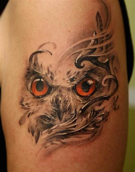 brown eyes owl tattoo i fucking love tattoos
