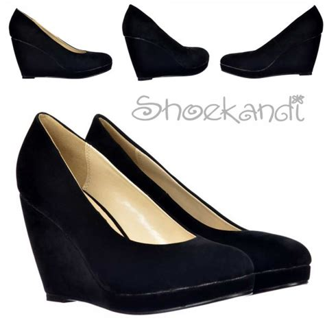 Black Suede Mid Low Heels shoekandi mid low heel wedge court shoes black suede