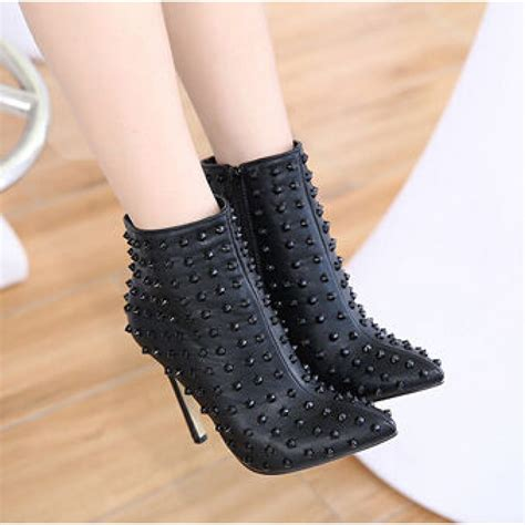 black poined toe studded high heel ankle boots