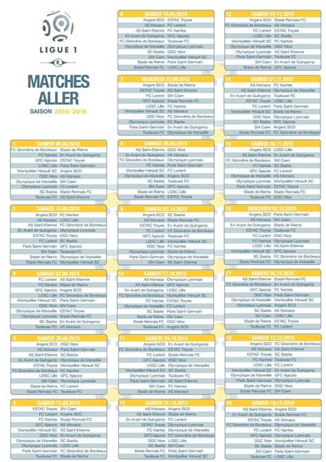 Calendrier Ligue 1 Maxifoot Calendrier Foot Ligue 1