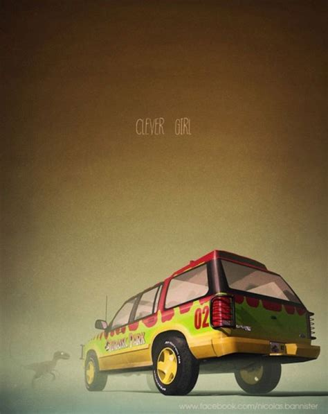 jurassic park car movie cool poster art featuring movie and tv cars from jurassic