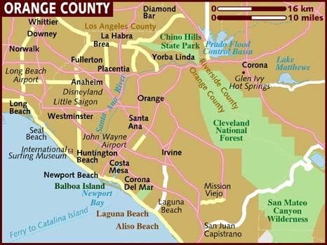 map of orange county map of orange county beaches