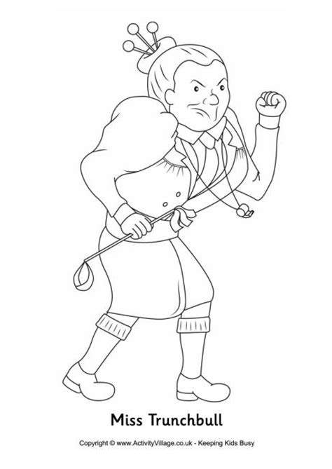 Matilda Coloring Pages miss trunchbull colouring page