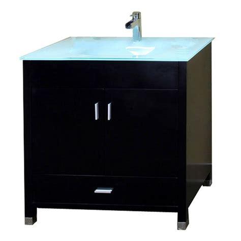 Single Vanity Top by Bellaterra Home Oslo B 33 In Single Vanity In Black With Glass Vanity Top In Glacier 203110 B