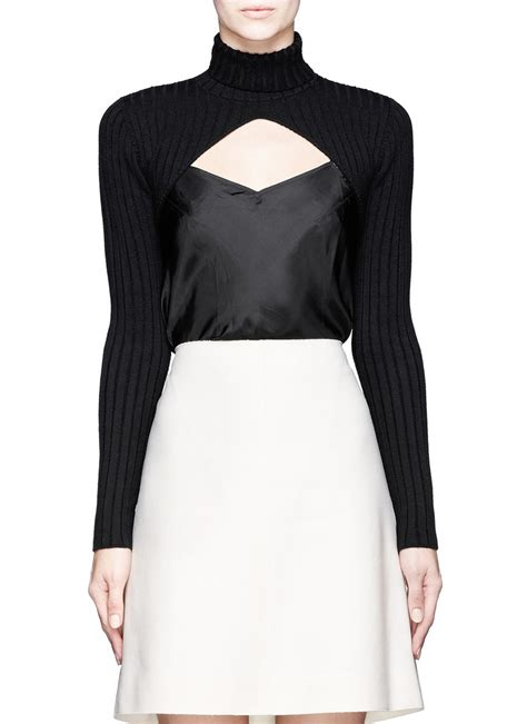 Turtle Neck Hnm Lace Crop Top carven cropped cutout front turtleneck top in black lyst