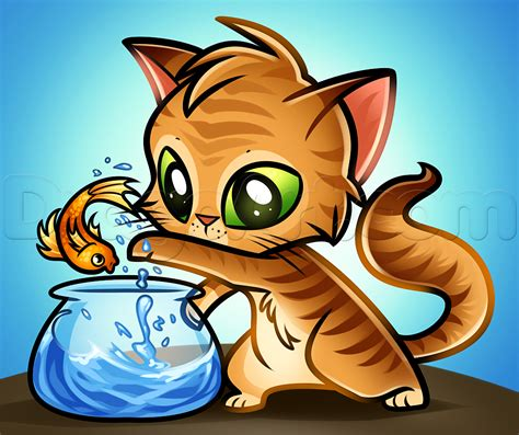 cat and drawing how to draw a cat and fish step by step pets animals free drawing tutorial