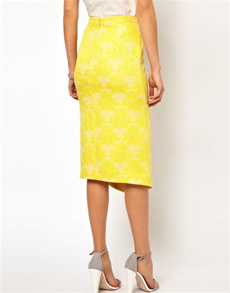 yellow pattern pencil skirt lyst asos collection asos pencil skirt in rose jacquard