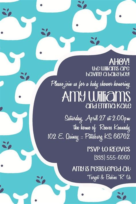 whale baby shower invitations modern whale baby shower invitation color choices digital file only 2251996 weddbook
